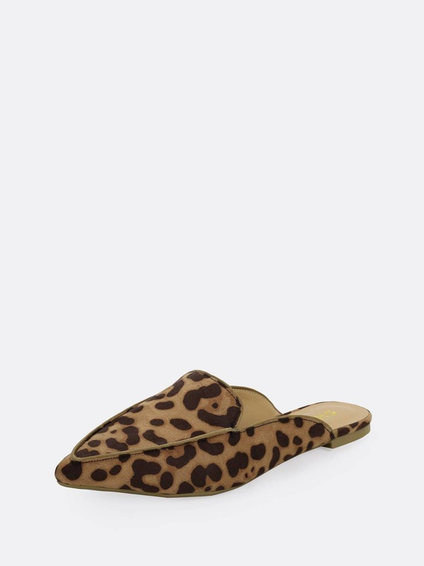 new list latest fashion lowest price Leopard Pointy Toe Loafer Mules