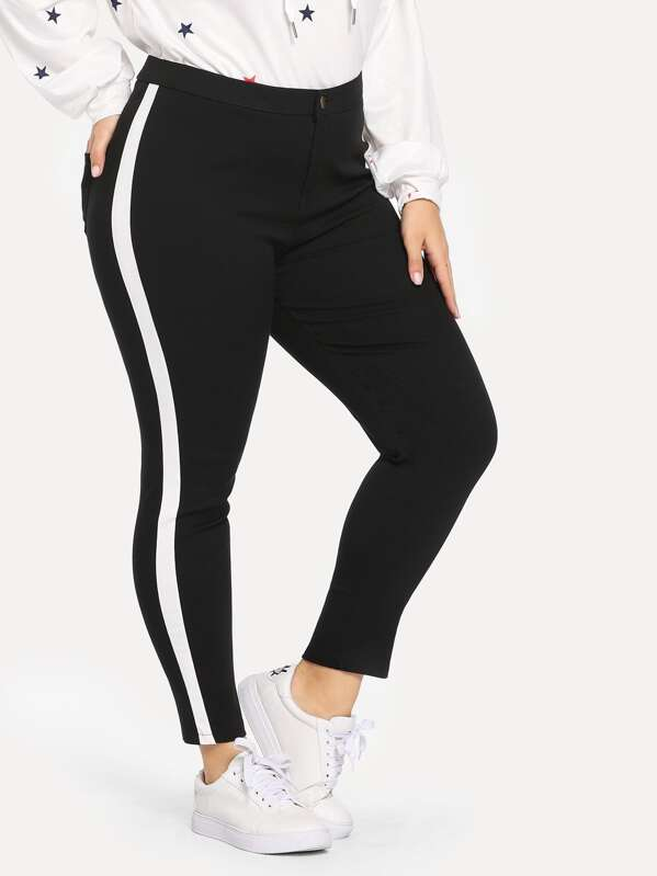 Plus Stripe Side Skinny Jeans by Sheinside