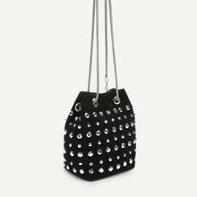 Rhinestone Decor Drawstring Crossbody Bag