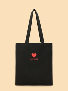 Heart Print Canvas Tote Bag
