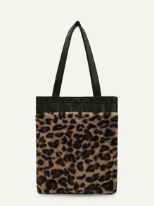 Leopard Pattern Faux Fur Tote Bag