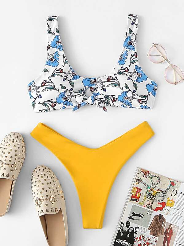 fef23cab3d Knot Front Cut Out Top With High Leg Bikini Set | SHEIN