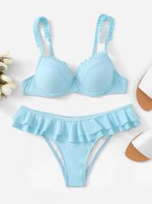 Underwired Top With Layered Flounce Bikini Set