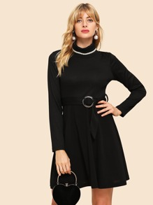 70s Rolled Neck O-ring Belted Rib-knit Dress