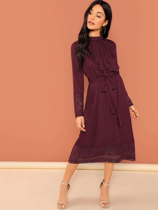 ed61222a5b Jabot Collar Guipure Lace Trim Belted Dress   SHEIN