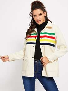 Contrast Tape Pocket Front Button Up Jacket