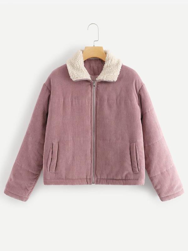e96b09744 Zip Up Corduroy Puffer Coat