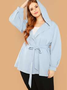 Plus Double Button Front Belted Hoodie Coat