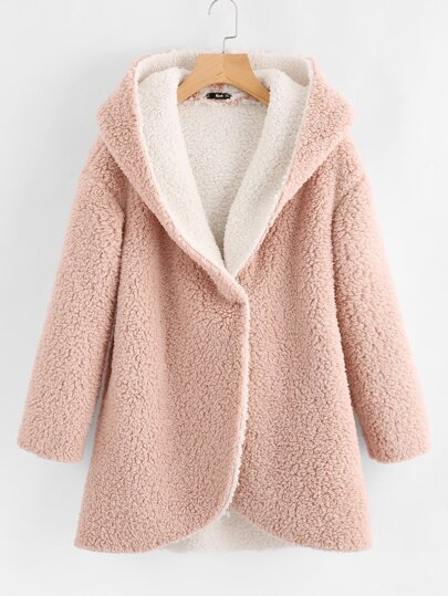 Plus Teddy Hooded Coat