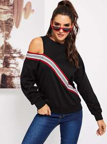 Cut Out Shoulder Tape Detail Sweatshirt