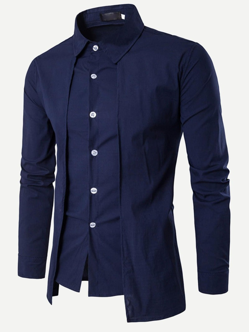 79ea0d572f Blusa sólida de hombres bajo asimétrico | ROMWE