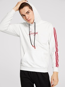 Men Contrast Striped Tape Letter Embroidered Hoodie