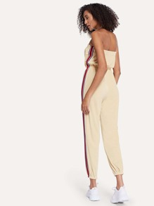 Striped Tape Side Bandeau Jumpsuit