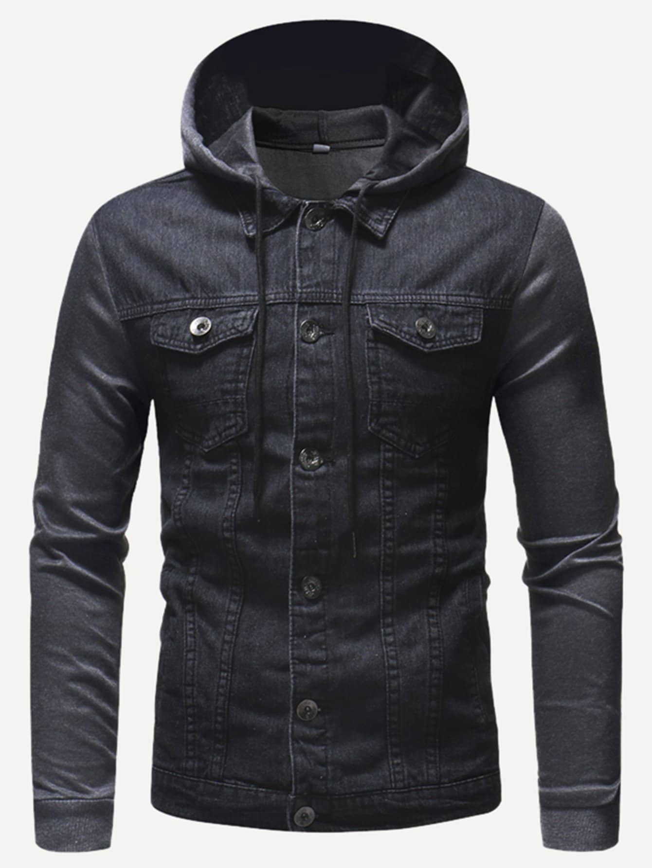Men Cut And Sew Solid Hooded Denim Jacket