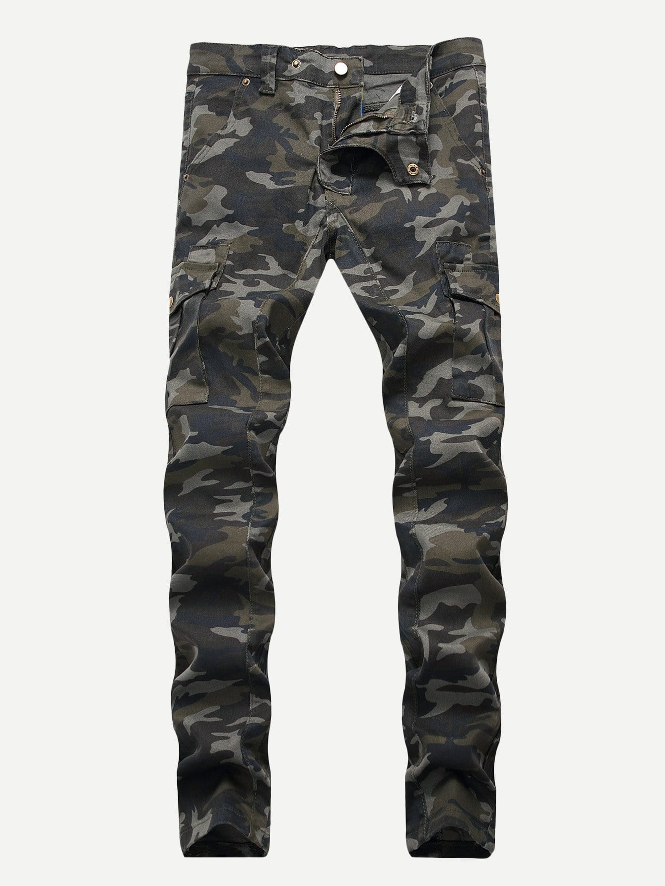Men Pocket Side Camouflage Print Jeans Men Pocket Side Camouflage Print Jeans