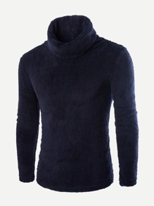 Men Turtleneck Solid Teddy Jumper