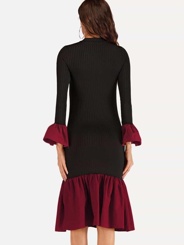 3a0db42a37 Contrast Ruffle Hem Knit Dress | SHEIN IN