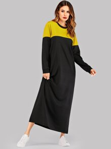 Two Tone Ringer Maxi Sweatshirt Dress