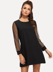 Contrast Mesh Pearls Dress