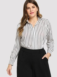 Striped Half Placket Blouse