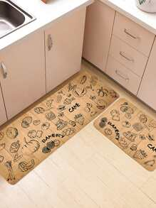 Food Print Floor Rug 2pcs