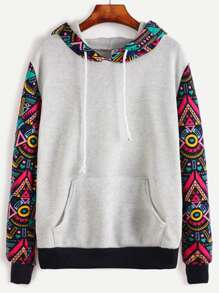 Plus Ornate Print Hooded Sweatshirt