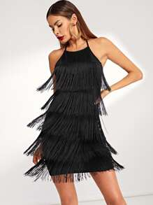 Tiered Fringe Halter Bodycon Dress