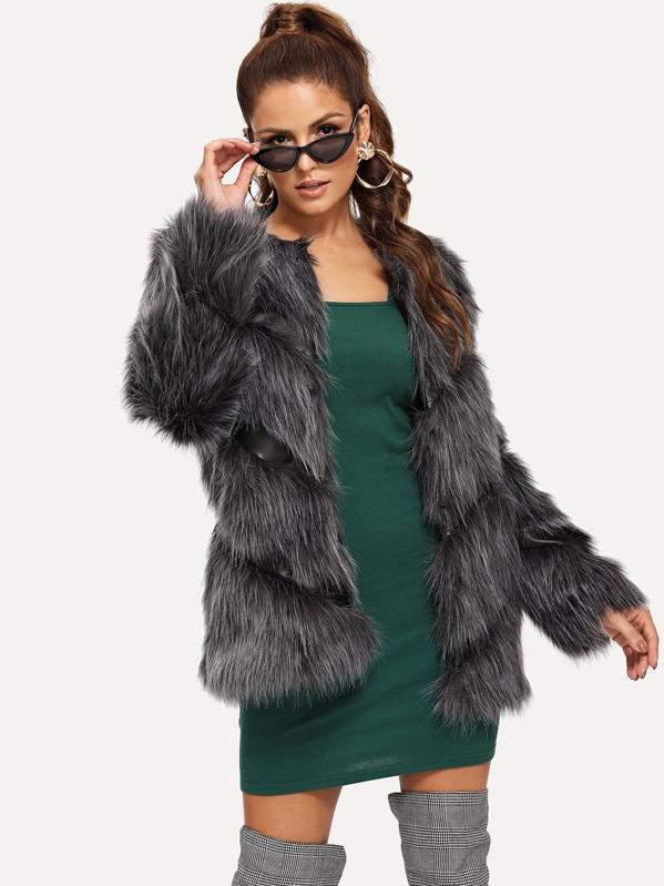 fdd232533b Open Front Faux Fur Coat