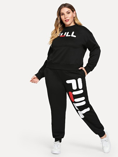 Plus Letter Graphic Pullover & Sweatpants Set