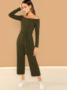 Off Shoulder Tie Waist Wide Leg Jumpsuit