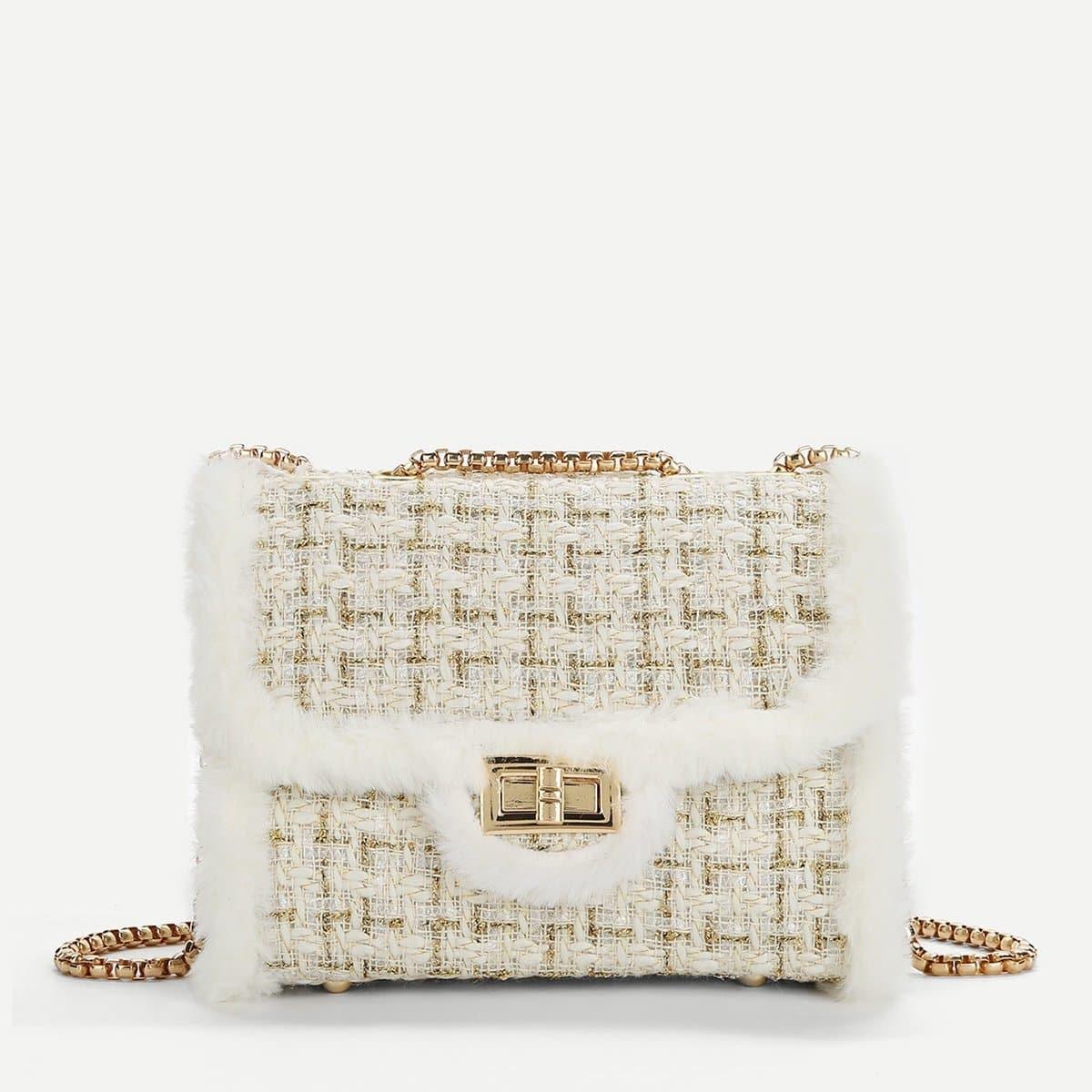 Цепная сумка через плечо с украшением искусственных мехов