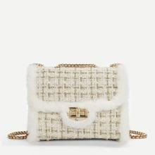 Faux Fur Decor Chain Crossbody Bag