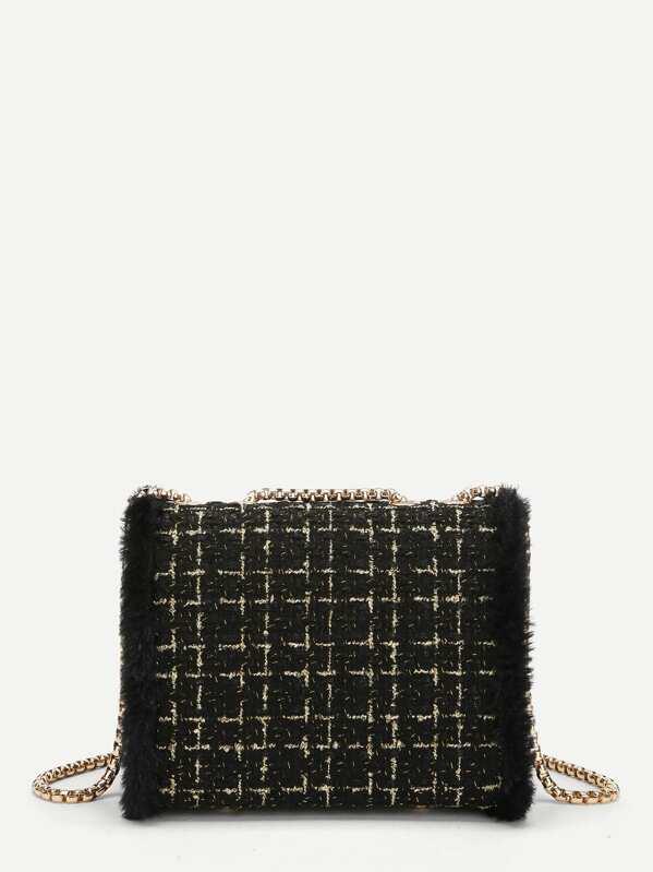 80866e385b Faux Fur Decor Chain Crossbody Bag