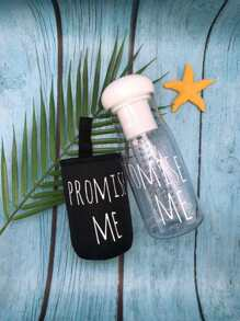 Letter Print Water Bottle 620ML With Bag