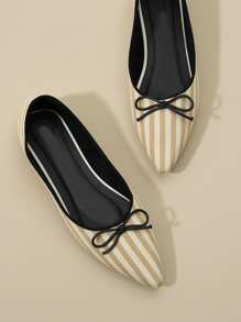 Bow Decor Striped Flats