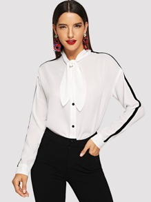 Contrast Panel Tied Neck Blouse