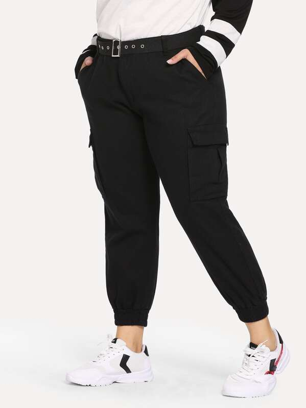 Shein Plus Pocket Patched Elastic Pants by Sheinside