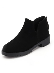 Zip Back Suede Ankle Boots