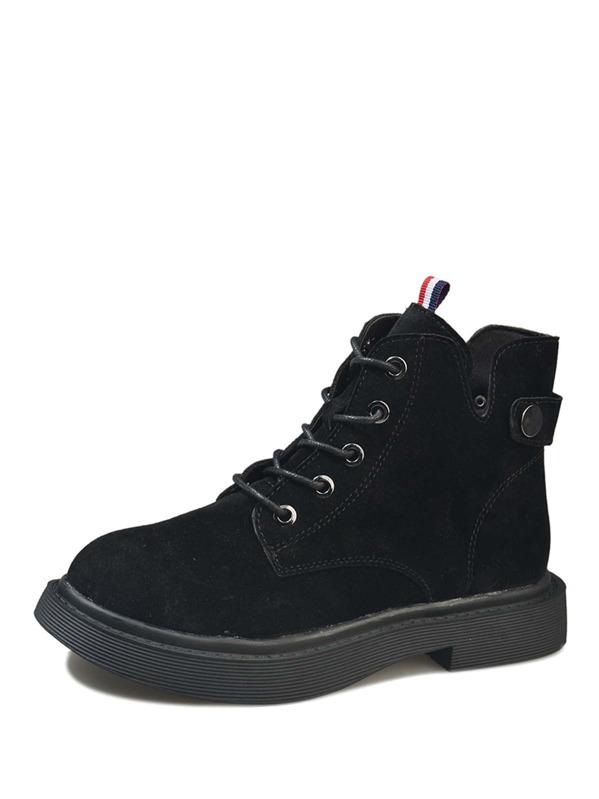 525606f4c أحذية برقبة طويلة ربط الحذاء الأسود غير الرسمي | شي إن