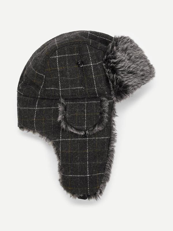 81241300b Men Faux Fur Grid Ear Flap Cap