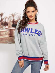Striped Trim Drop Shoulder Sweatshirt