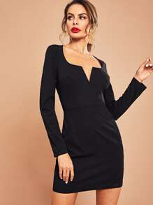 V-Cut Neck Solid Dress