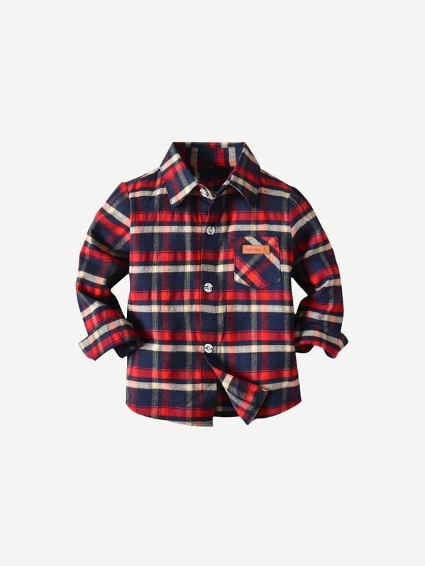 54478e3d Toddler Boy Plaid Embossed Shirt   SHEIN