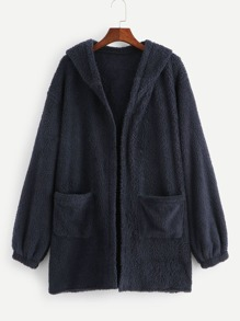 Pocket Side Hooded Teddy Outerwear