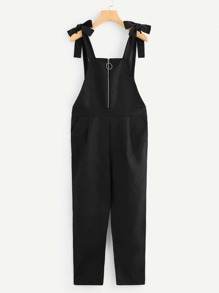 Quarter Zip Knot Detail Pinafore Jumpsuit
