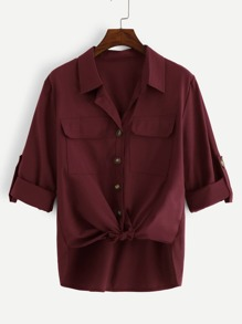 Plus Pocket Knot Hem Blouse