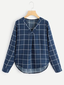 Plus Plaid V-Neck Blouse