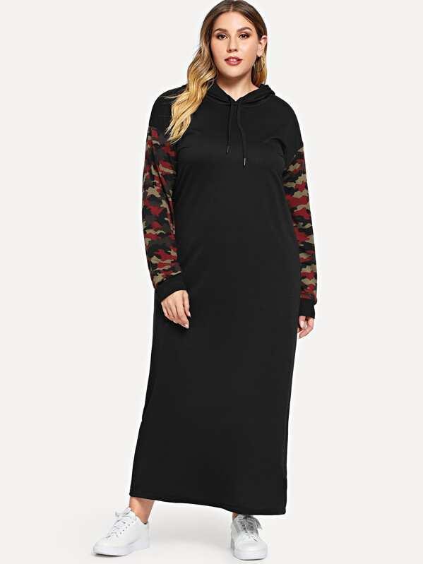 Plus Camo Print Drawstring Hooded Dress   SHEIN