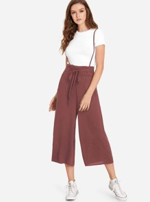 Knot Front Pocket Side Pinafore Pants