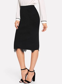 Contrast Lace Split Side Knit Skirt